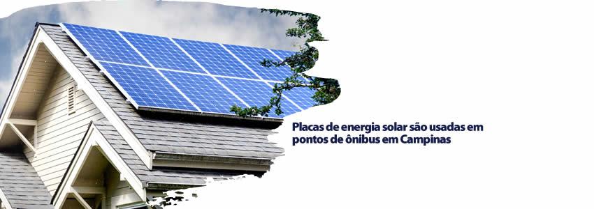 Placas de energia solar são usadas em pontos de ônibus em Campinas